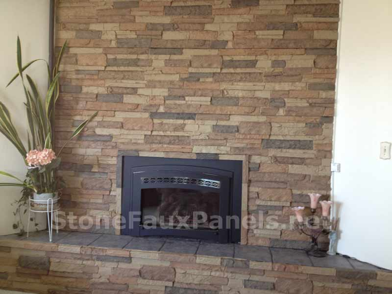 Panels of fake stone for fireplace
